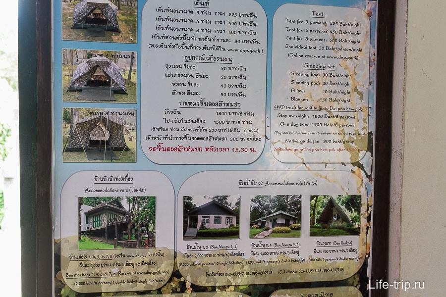 Стоимость палатки и домиков в нац парке