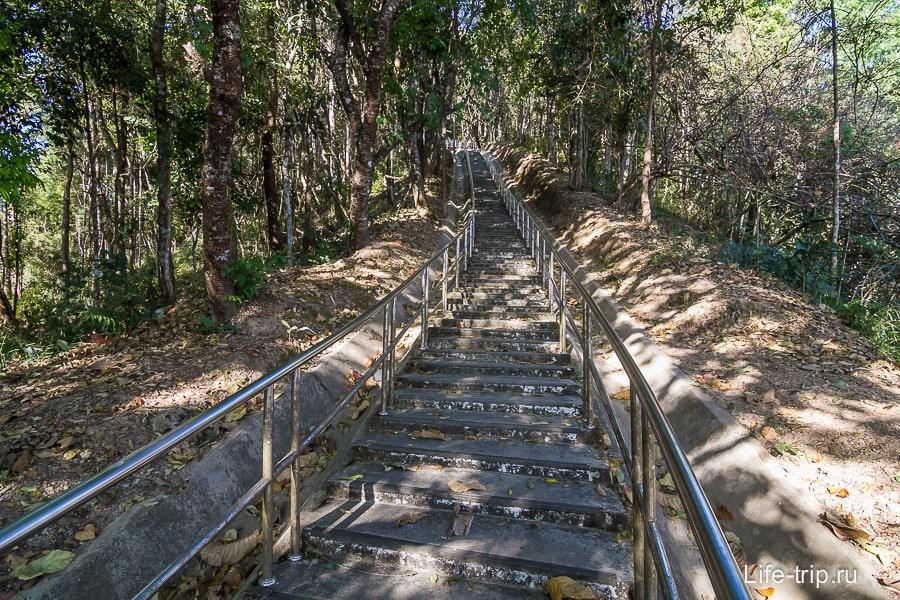 Лестница к чеди Phra Boromathat, 718 ступеней