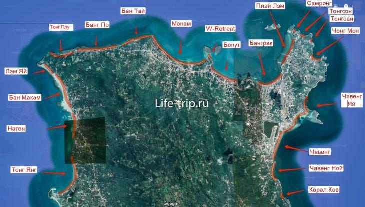 Карта пляжей Самуи, север