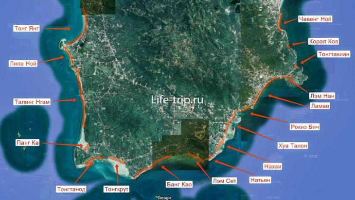 Карта пляжей Самуи, юг