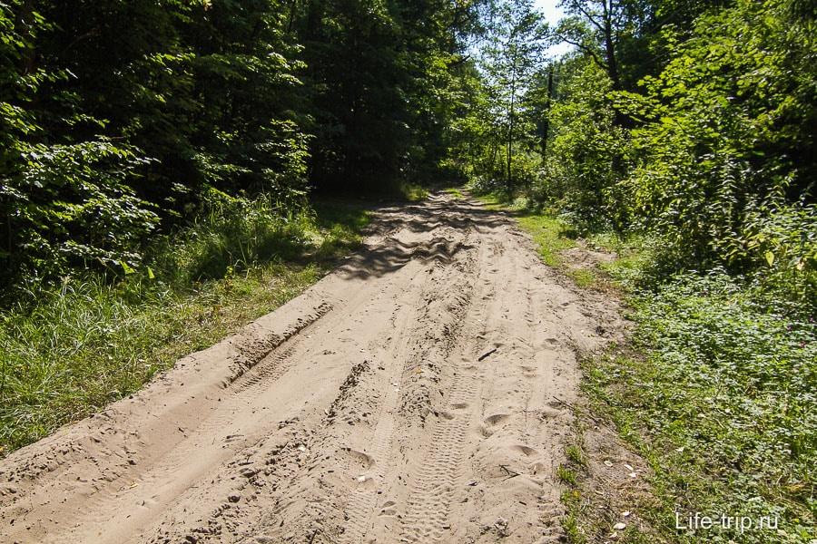 Дорога с песком, можно увязнуть