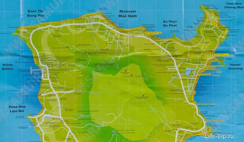 Карта северной части Самуи