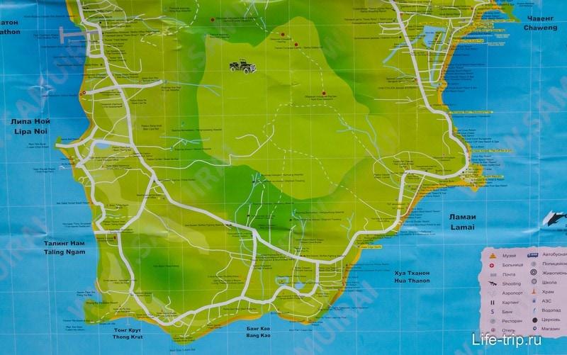 Карта южной части Самуи