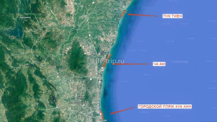 Карта пляжей Хуа Хина (север)