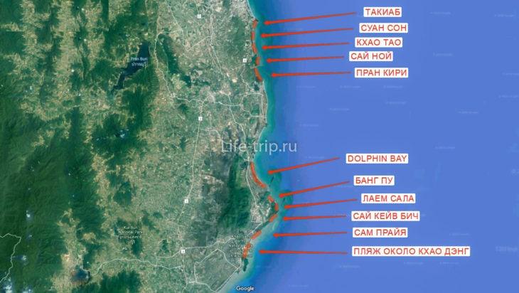 Карта пляжей Хуа Хина (юг)