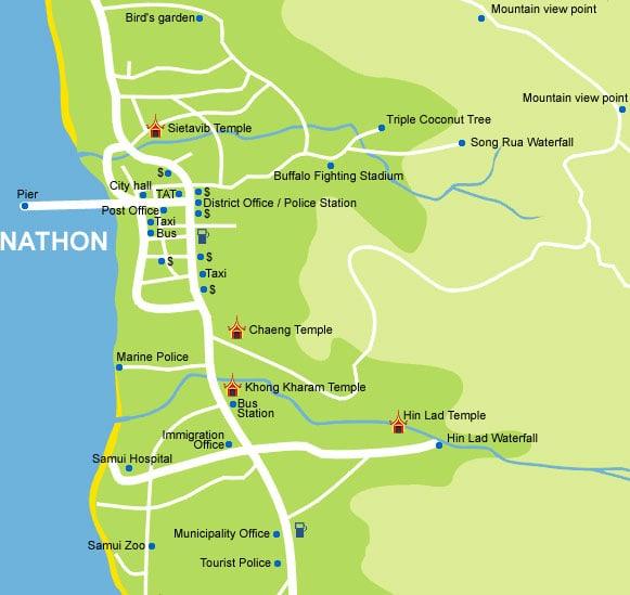 Карта Натона на Самуи