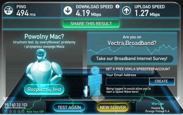 Скорость wifi у нас в Варшаве