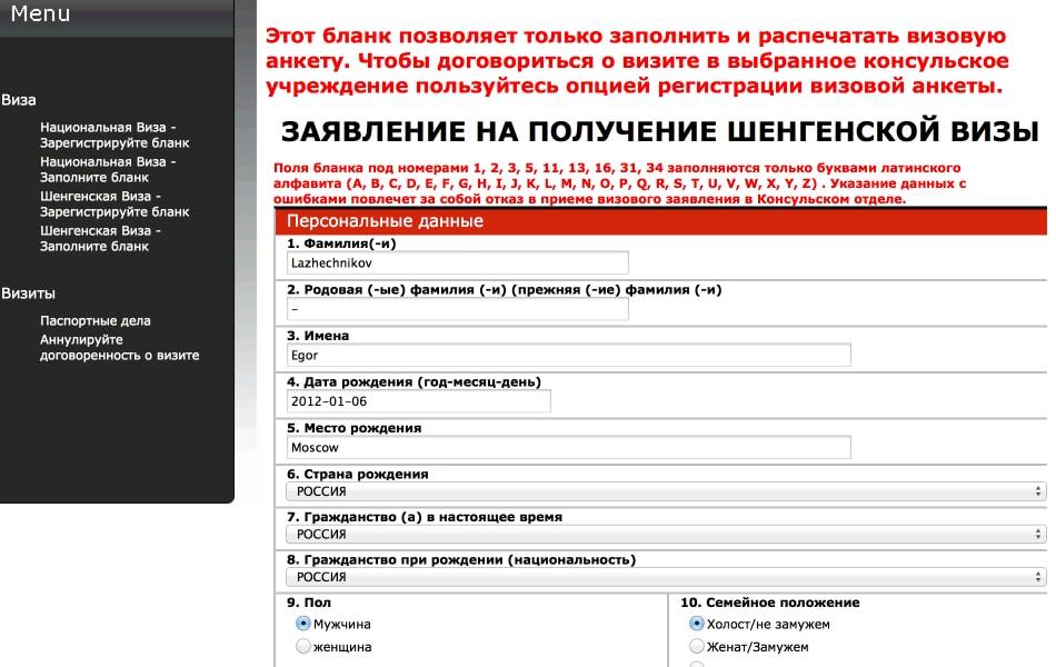 образец заполнения анкеты на шенгенскую визу в польшу для белорусов - фото 2