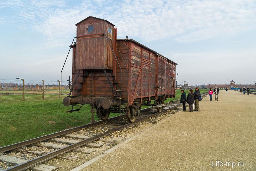 В таких вагонах сюда привозили людей, 50-100 человек внутри