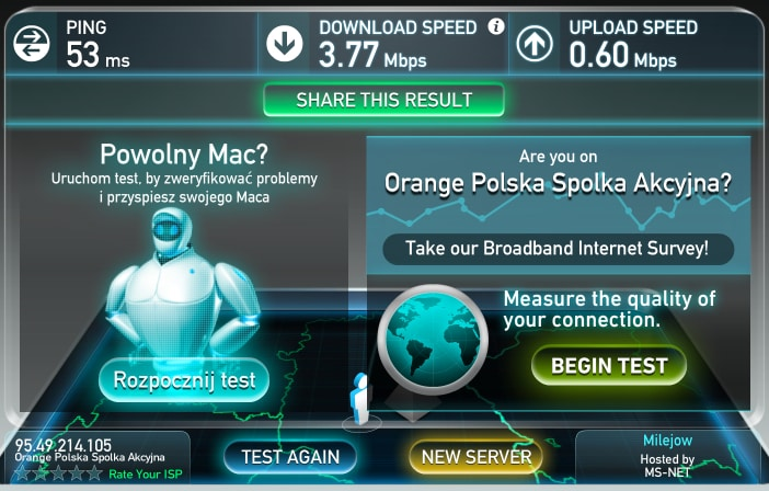 Скорость Wifi вполне