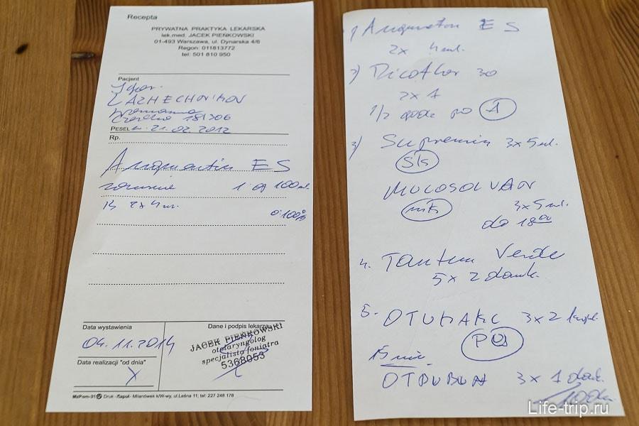 Рецепт и список лекарств