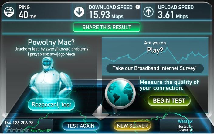 Скорость 3G в Варшаве, оператор Play