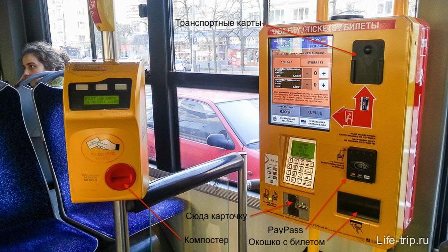 Автомат для покупки билеты внутри автобуса