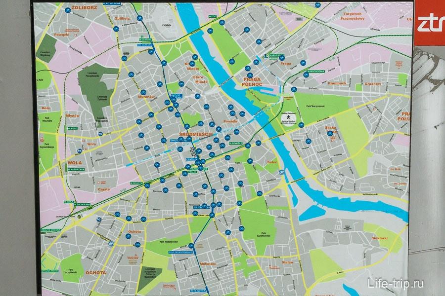 Карта точек проката велосипедов в Варшаве