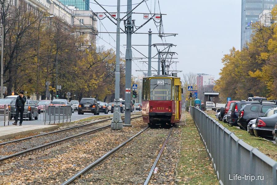 Старый трамвай в Варшаве
