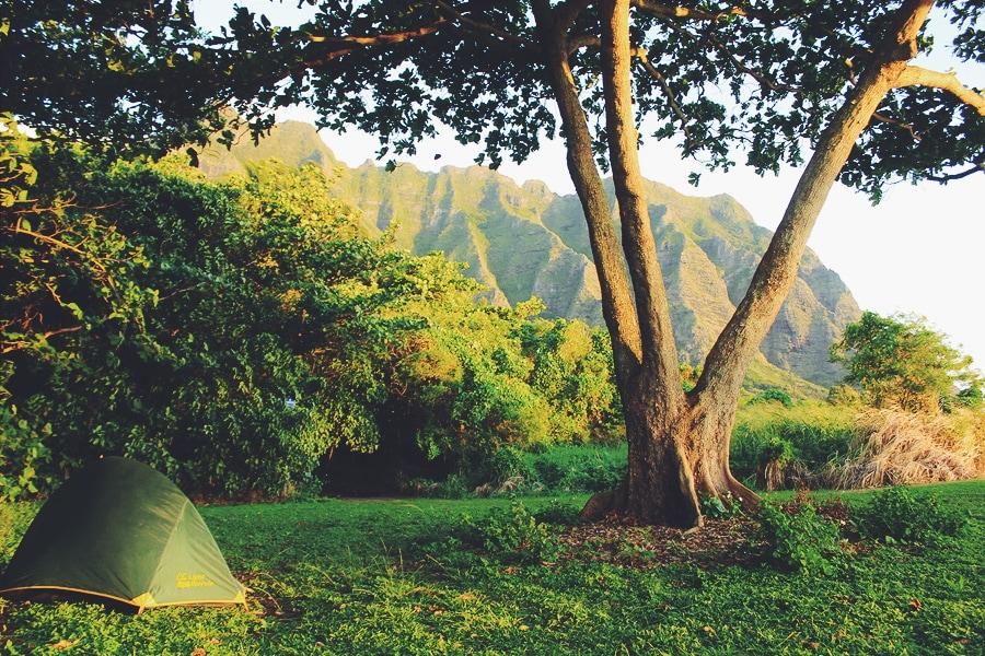 В палатке на Гавайях, США
