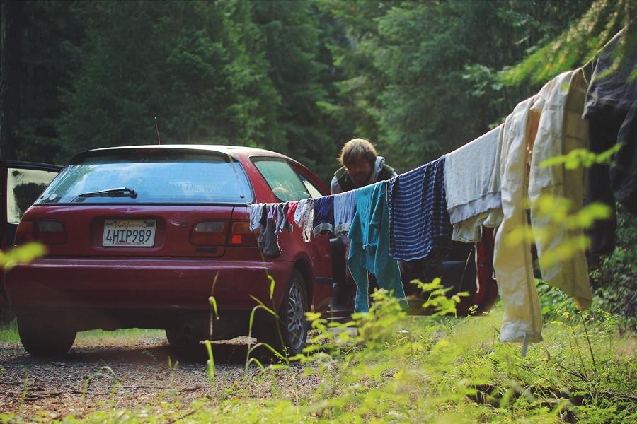 Сушим белье где-то в заповедных лесах США