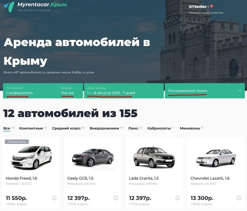 Аренда машины в Крыму, задаем критерии