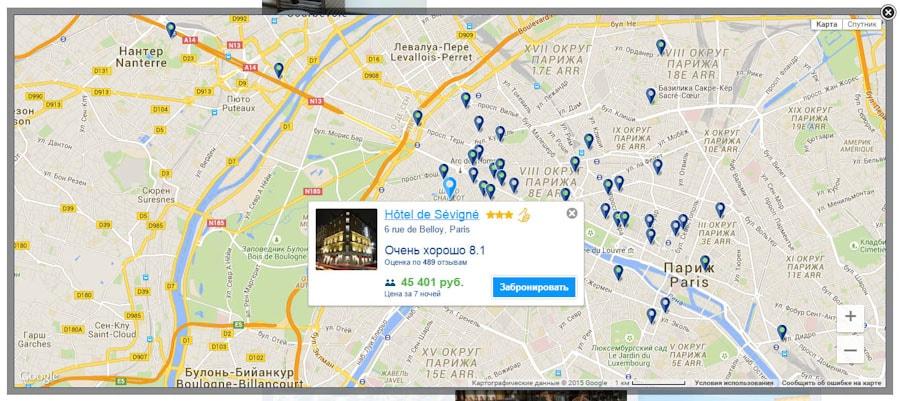 Интерактивная карта города с отелями