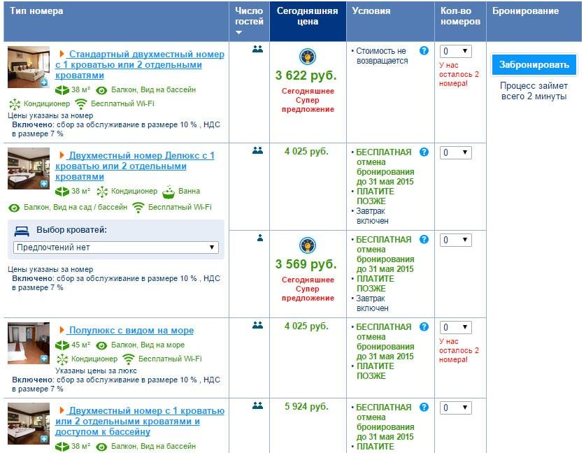 Цены на номера на booking.com