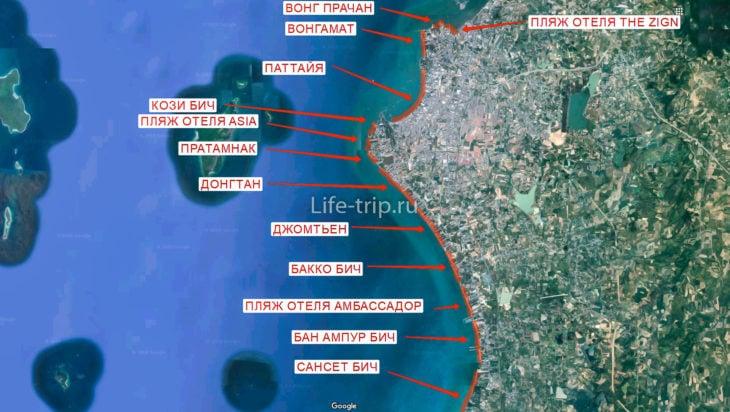 Карта пляжей Паттайи (север)