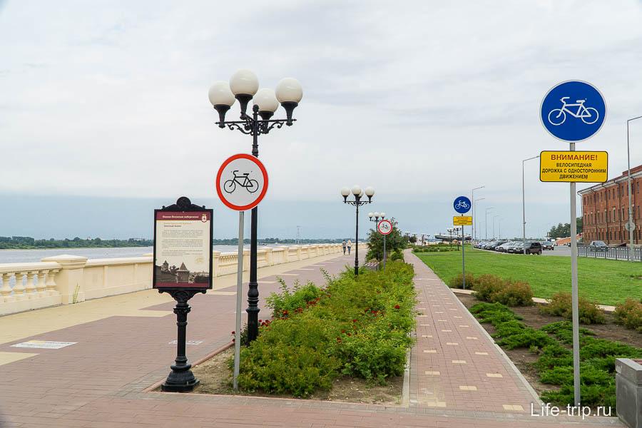 Велодорожки на Нижне-Волжской набережной