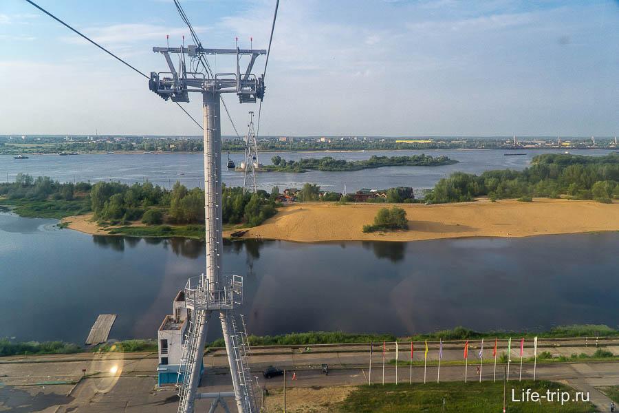 Канатная дорога в Нижнем Новгороде - вид на Бор