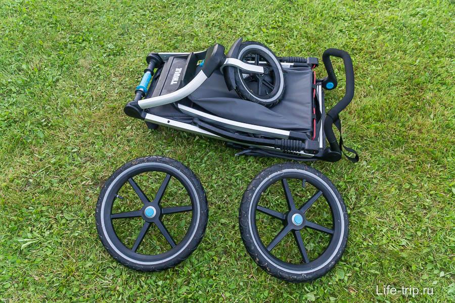 C сложенном виде и со снятыми колесами