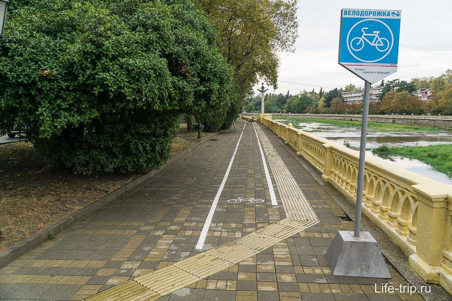 Велодорожка просто нарисована на тротуаре