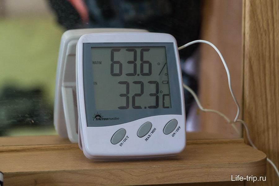 Днем в доме обычно 60% влажность и 30-33 градуса