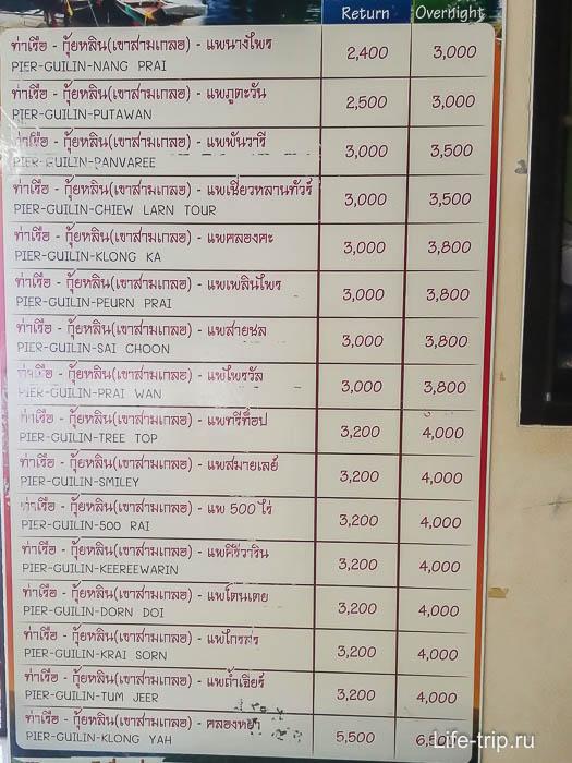 Цены за доставку от пирса к рафтхаусам на озере Чео Лан