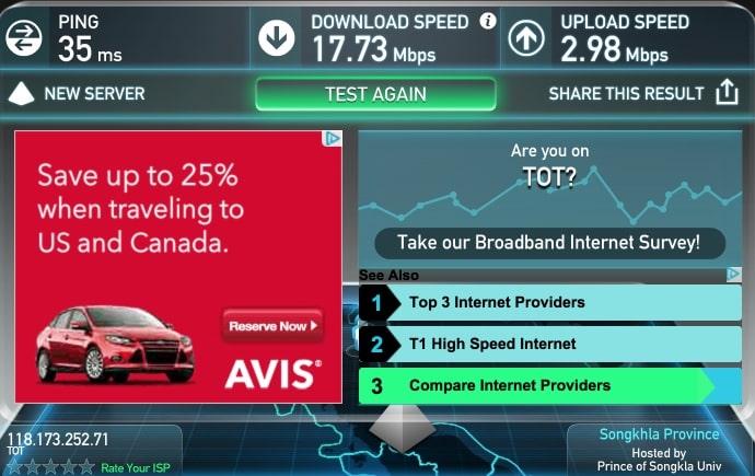 Скорость Wifi для тайского отеля просто отличная