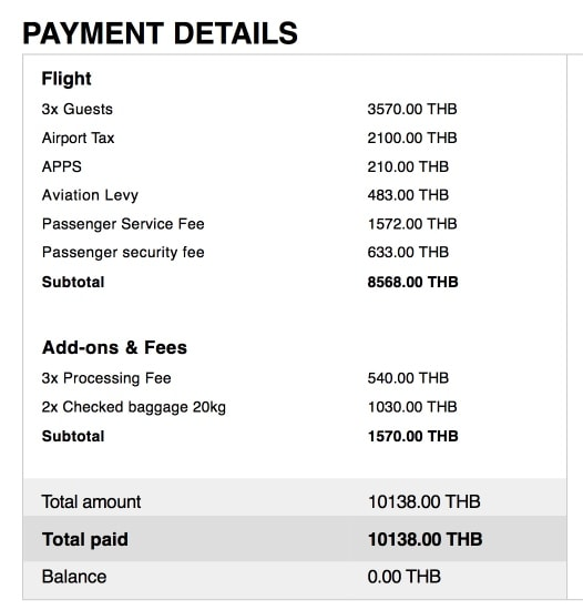 Стоимость билетов в AirAsia