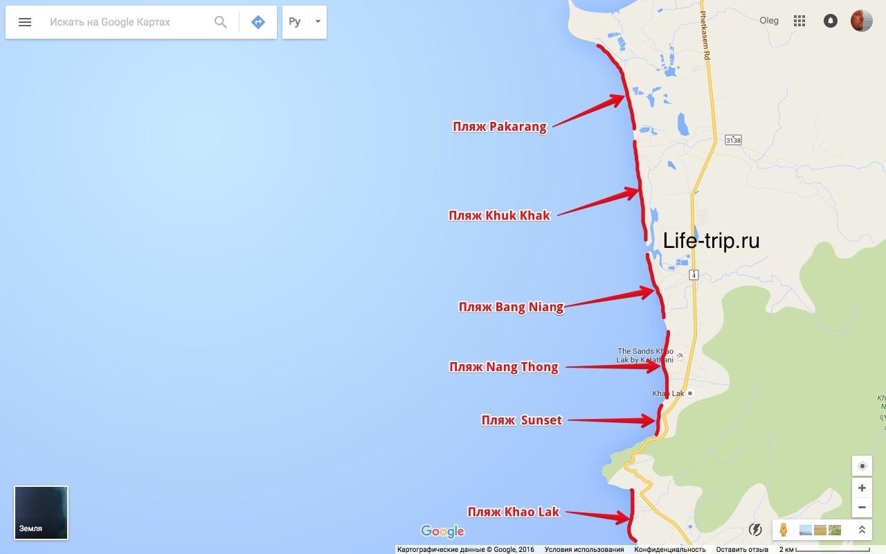 Карта пляжей Као Лак
