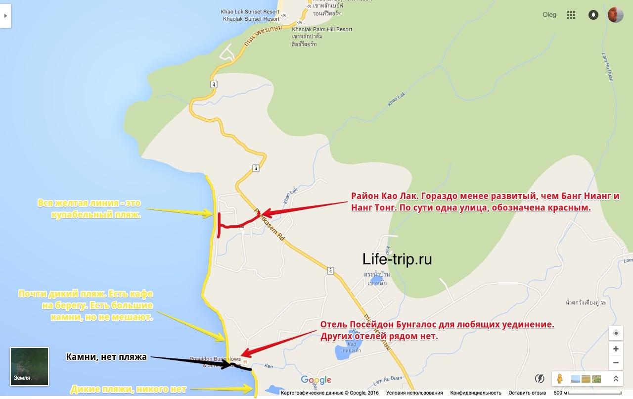 Карта пляжа Као Лак