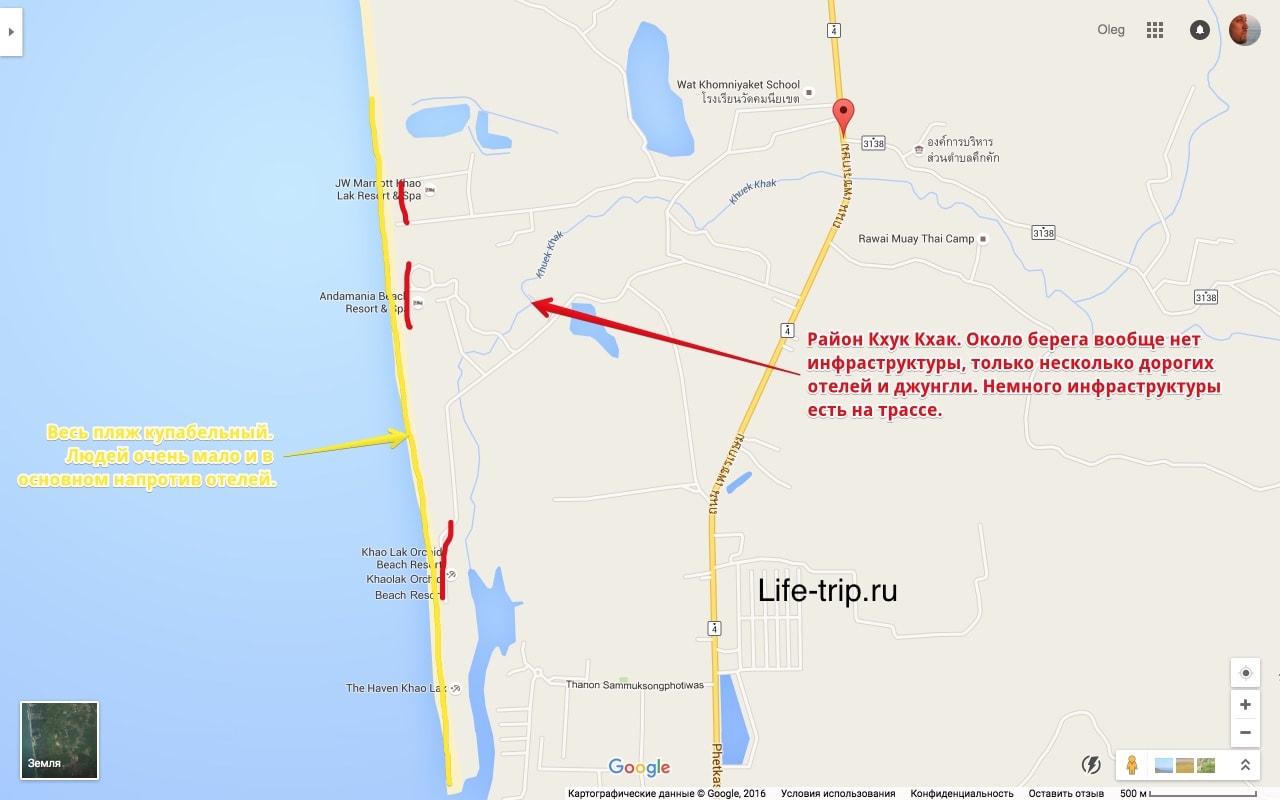 Карта пляжа Кхук Кхак