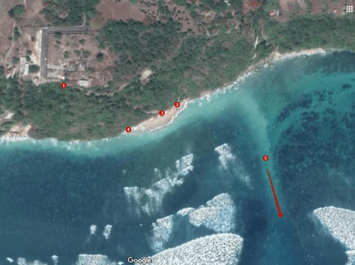 Постоянный рип на пляже Грин Боул на Бали