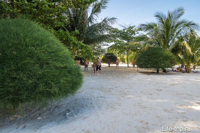 Есть сетка для волейбола и вообще в глубине Малибу много тени и места.