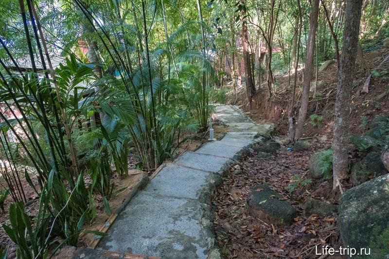 Почти везде от дороги до пляжа придётся идти по лестнице