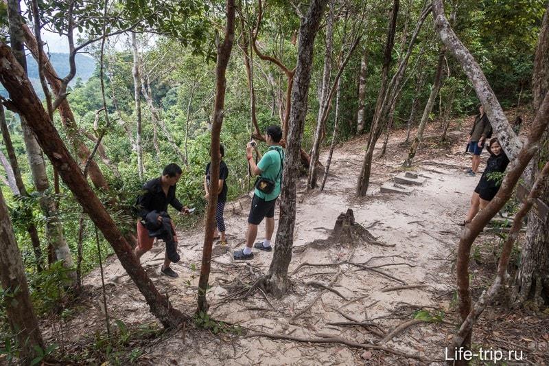 Дорожка проходит вдоль левого склона, вид на бухту Пханг Нга