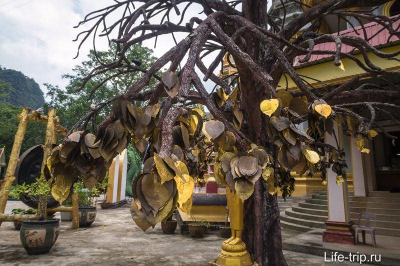 Дерево с листьями, на которых написаны желания. Купить такой листок можно в павильоне неподалёку.