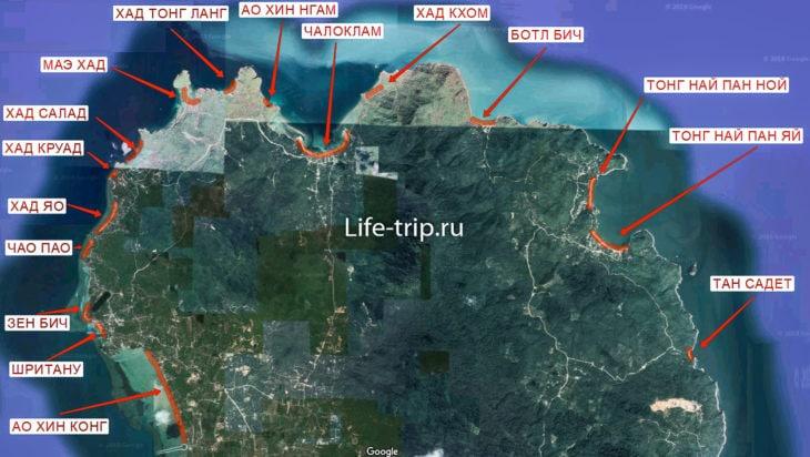 Карта пляжей Пангана, север