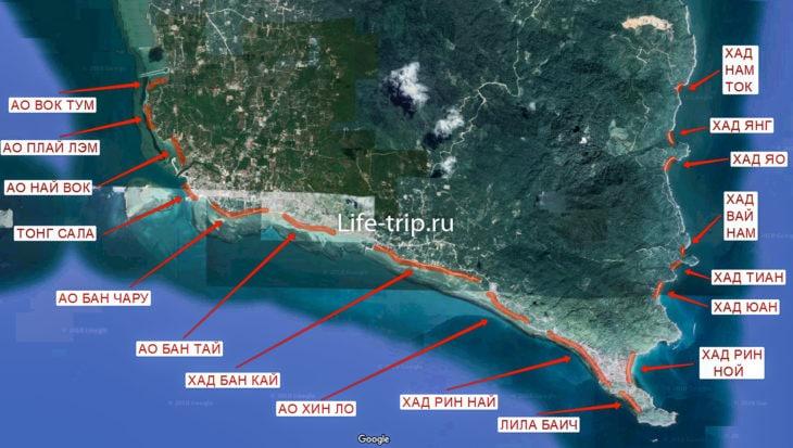 Карта пляжей Пангана, юг