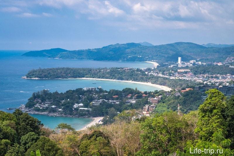 Вид со смотровой на 3 пляжа: Ката Ной, Ката, Карон