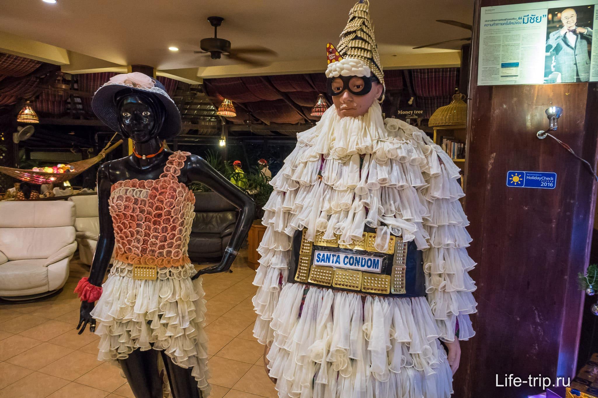 Манекены в фирменных костюмах прямо в ресторане