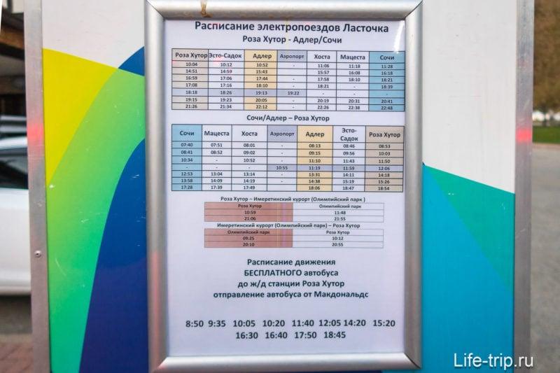 Расписание бесплатных шаттлов Роза Хутор