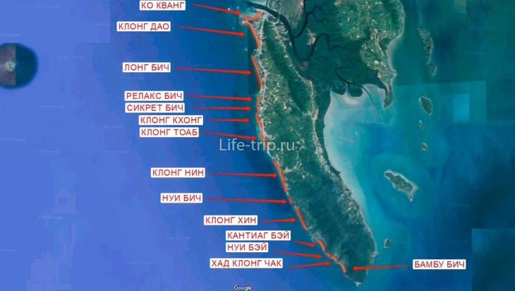 Карта пляжей Ко Ланта