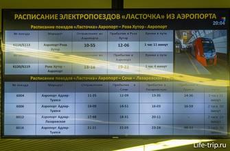 Расписание поездов из аэропорта Сочи