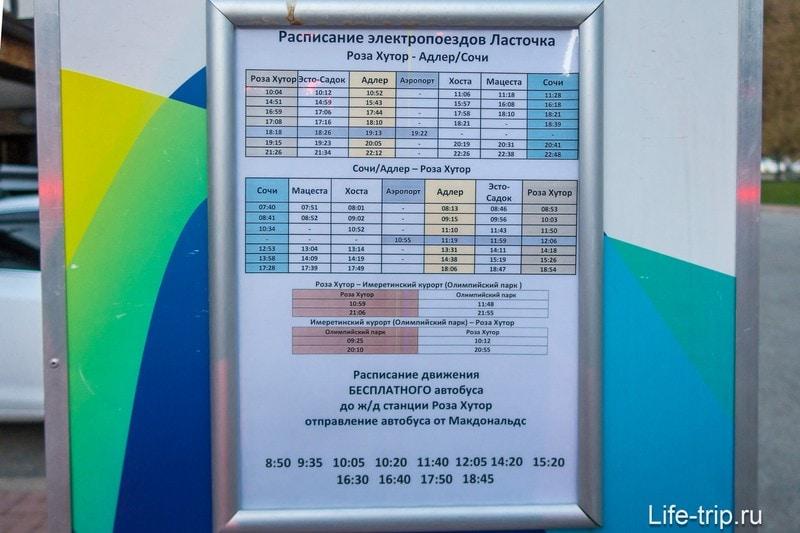 Расписание на остановке автобуса у МакДональдса на Роза Хуторе