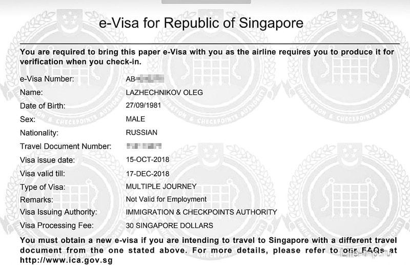 Вот так выглядит моя электронная виз в Сингапур
